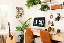 Office / Modern, mid-century modern, bright, clean, organized home office ideas and home decor.
