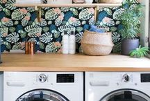Laundry Room / Eclectic, colorful, organized, and clean laundry room ideas.