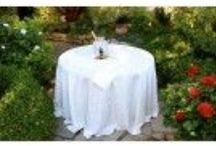 """Table Linens / A large portion of our business comes from repeat customers and referrals. View our reviews, visit us on Facebook and Wedding Wire and see how thrilled our customers are with our products and service.  Our philosophy and commitment remains the same as the day we started, """"we've got you covered ®""""."""