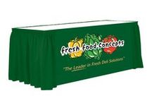 Custom printed tablecloths we have manufactured / Custom made for our customers. For trade show printed tablecloths and imprinted banners, Point of sale and wedding imprinted linens.