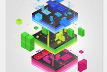 isometric / isometric design - a great way of illustrating things.