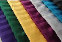 Poly Stripe Table Linens /  Variety of Radiant Polyester Stripe colors now available. Wrinkle resistant, dazzling, elegant, impressive. 100% Polyester. Excellent color retention