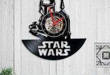 Vinyl clock /  vinyl clock   wall clock  Vinyl record clock Birthday Gift  vinyl record art  record clock  home decor  Star wars Gift  clock star wars  home gift  wall clock vinyl
