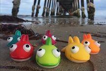 Comme un poisson dans l'eau / Pêche à la ligne avec de jolis poissons Janod. Jolies photos sur la plage.
