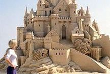 Sand Sculptures&Sand Art**** / Sand Sculptures fascinate me.To think an artist can take tiny particles of sand and form such elaborate works of Art only to be blown away by the wind and elements of nature.All that is left is a blank canvas .