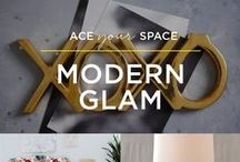 Ace Your Space: Modern Glam / Shiny surfaces, sparkling metallics, cheeky accents—everything you need to make your first apartment feel like the glam-tastic space you want it to be.