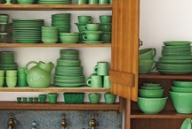 """Fire King Retro Kitchen / I was """"jadeite"""" when """"jadeite wasn't cool."""" I can remember paying a dollar a plate and now they run twenty five to thirty dollars a plate in Indiana. Through the years I have collected all of the patterns, both domestic and restaurant. I even have the tilted ball pitcher, milk pitcher, egg cups and butter dish.  I have some that are still in their original box from the store.  These are the only things our grown son has asked to be left to him... the old green dishes... / by Gwenandchuck Milledge"""