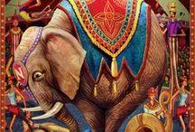 Inspiration Clowns & Circus / Retro style circus backgound, clowns, artists etc.