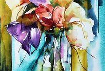 peinture fleurs, fruits et légumes