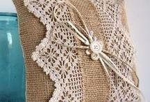 Burlap, linen and lace