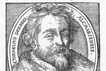 Cornelis Drebbel / Born in Alkmaar in 1572. Deceased in London 7 November 1633.  The Edison of his time. Brilliant empiric researcher and innovator, Drebbel's constructions and innovations cover in particular measurement- and control technology, pneumatics, optics, chemistry hydraulics and pyrotechnics. With Staten General he registers several patents: writes some interesting essays about his experiments with air pressure. Makes beautiful engravings; the subject The Seven Liberal Arts and a map of  Alkmaar.
