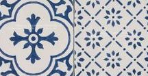 French Provincial 19th Century Cuisine de Monet Collection / The blue and white hand painted geometric tiles of the Cuisine de Monet Collection are inspired designs from 19th century decorative art tile from Rouen, France, made famous by Claude Monet's kitchen installation in Giverny, France.