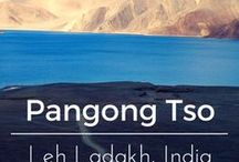 "Pangong Tso, Leh Ladakh, India / Pangong Tso, Tibetan for ""high grassland lake"", also referred to as Pangong Lake, is an endorheic lake in the Himalayas situated at a height of about 4,350 m. It is 134 km long and extends from India to China."