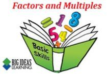 Factors and Multiples (Middle School) / Big Ideas Learning Basic Skills Handbook worksheets and answers for problems relating to Factors and Multiples.