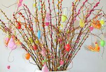 Pasen / Paasboom versieren, paasslingers maken en eitjes schilderen