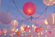 Outdoor summer party / Balloons, candles, lanterns, sunsets, summer, sunshine, food & friends.