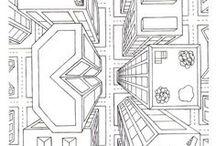 Zeichnen / Technik, Perspektive, Form, Farben, 3-D,