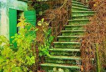 Treppen, außen, alt