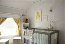 My Work: Nursery Design / Photos of our first baby's nursery, including Babyletto furniture, giraffes, elephants, owls, handmade goods, custom-designed curtains & storage cubes, and more.