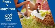 Picnic, aperitivi all'aperto & Happy Hour / Il sole e la bella stagione, il profumo dei fiori, una tovaglia a quadretti, la compagnia giusta e...un cestino da picnic ricco di prelibatezze e piatti freschi e sfiziosi, perfetti per essere conusmati all'aria aperta. La parola picnic deriva dal verbo francesce piqueniquer che significa infatti mangiare all'aperto.