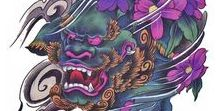 Foo Dog, Japanese Oni Tattoo