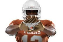 2013 Texas/OU Red River Rivalry uniforms / Texas Football will wear specially designed uniforms for the 2013 AT&T Red River Rivalry on Saturday, Oct. 12. Nike designed the Pro Combat unis to honor the heritage of the annual game with Oklahoma and the tradition of the Golden Hat trophy. / by Texas Longhorns