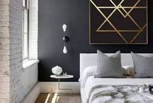 black, white, and brass (and marble) / What a great color combination! See black, white, brass, and marble accents we love.