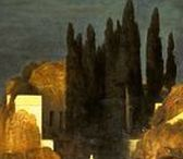 Arnold Böcklin (1827 - 1901) / Arnold Böcklin (16 October 1827 – 16 January 1901) was a Swiss symbolist painter.  Influenced by Romanticism his painting is symbolist with mythological subjects often overlapping with the Pre-Raphaelites. His pictures portray mythological, fantastical figures along classical architecture constructions (often revealing an obsession with death) creating a strange, fantasy world.  Böcklin is best known for his five versions (painted in 1880-1886) of the Isle of the Dead.