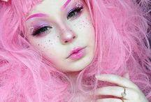 •aes; pastel pink• / pink shoes, pink makeup, pink skirt, pink sweater, pink pillows, pink food, pink cheeks... i could go on.