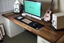 Developer new desk / Building my developer new desk. Kitchen dark worktop on a couple of ikea Alex as feet