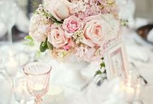 Floral Arrangements / Floral arrangements for centerpieces and bridal bouquets - cream, pinks, whites, mints - glamorous and romantic