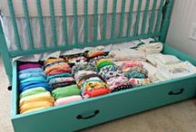 Nursery Organization / Tips for organizing your baby nursery basics and inspiring cloth diaper storage ideas.