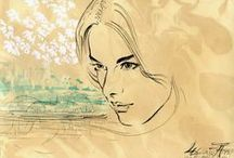 Beauty by Witold Kubicha / The beauty of the female face in watercolor & drawing by Witold Kubicha