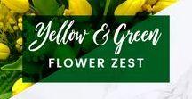 ORCHIDYA // Yellow & Green Flower Zest / Yellow flowers, Yellow wedding theme, Green flowers, Tulips, Mimosa, Yellow Flower Bouquet, Floral Arrangement, Flower Jar, White flowers  http://orchidya.com/