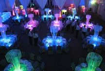 Table Centerpieces / Light up table centerpieces for your next event! LED Martini glasses, flashing Ice cubes and glowing vases.