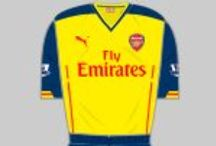 Arsenal Away Kit History / All graphics reproduced by kind permission of historicalfootballkits.co.uk. / by Arsenal Football Club