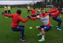 Valentines day Training 2015 / The Arsenal squad continued their preparations for Sunday's FA Cup fifth-round match against Middlesbrough with a training session on Saturday afternoon, Valentines day.