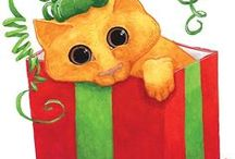 Christmas Cat Art / Whimsical paintings of cats celebrating Christmas!  All are available in custom print form at RedBubble.com. Make it all yours today!