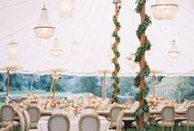 Wedding Tent Decor / Creative florals and lighting, tabletop decor and linens, wedding signage, DIY wedding decor, vintage accessories, and personalized decorations inside real weddings underneath sailcloth Sperry Tents.