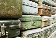 Iron Trunks / Old travel trunks. These trunks were used during the colonial period in India. The lid opens to reveal a single compartment.