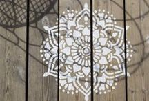 """Tibet mandala stencil / Transport yourself to the ancient Himalayan peaks of Tibet with our Tibet Mandala stencil.  Like each our seven unique Mandala stencil designs, it's simply perfect for your floor, wall or ceiling! On timber, stone, concrete, curtains, cushions and fabrics..the possibilities are endless.  An easy 'DIY' fun project the Mandala stencils let you place your own special touch on your surroundings. It is made of super durable plastic, reusable and strong. Size: 45 X 45 centimeter, 17"""""""