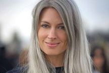 Going Gray: Beautiful Silver Hair / Inspiration photos of beautiful women with incredible silver or gray hair, as I transition my hair back to natural, after 10+ years of coloring.