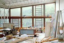 Art Studio / studio organization tips, useful furnishings, art materials
