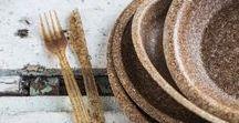 Wheat Bran Tableware / Eco, fully biodegradable tableware made of pure, edible wheat bran.