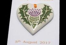 jsfavours.co.uk / Hand-made personalised ceramic wedding favours.  www.jsceramics.co.uk  01592840638