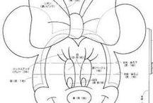 Mickey Mouse y Minnie Mouse / moldes, patrones, dibujos o plantillas