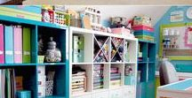 Organize: Crafts / Craft organizing ideas, for paper, adhesives, ribbons, fabric and other supplies.