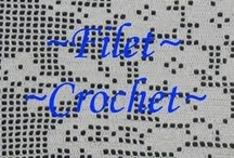 "Crochet:  Filet Crochet / ...FYI..little known fact..MOST filet patterns CAN be used as CROSS STITCH too...might just  turn out a little smaller, but still usable......  If you can draw something into a grid pattern..you CAN make a filet crochet item from it.  Use basic ""GRAPH PAPER"" to make your designs."