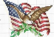 USA Stitching / USA, America, red, white, blue, military