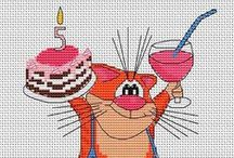 Cross Stitch: Greetings / Happy Birthday, Welcome, Graduation, Anniversary, New Years